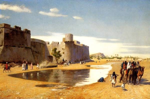 An Arab Caravan outside a Fortified Town Egypt